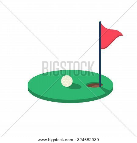 Golf Ball Near The Hole On The Green Court. Green Playing Field. Goal Achievement Sign. Hole With A