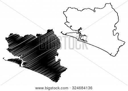Southern Province (republic Of Sierra Leone, Salone, Sherbro Island) Map Vector Illustration, Scribb