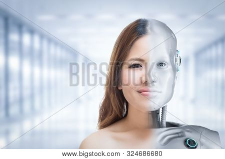 Cyborg Woman Or Cyborg Girl Concept With Robot Inside Human