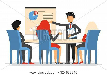 Business Meeting In Conference Room Vector Isolated. Man Make Presentation In Office, Business Proje