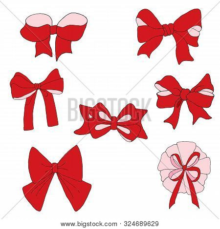 A Set Of Bows Handmade Vector For Creativity. Bows Can Arrange Various Items