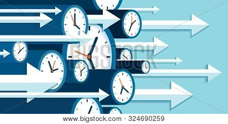 Time Forward. Fast Decision. 3d Clock Icons In Flat Style, Right Arrows, Timers On Blue Background.
