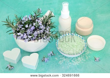 Skin care beauty treatment with rosemary herb flowers, moisturising cream, ex foliation salt & heart shaped soaps. With anti ageing benefits & helps to reduce environmental skin damage.