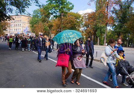 Kyiv, Ukraine - September 20, 2019: Ukrainian People Gather Climate Change Protest On Global Climate