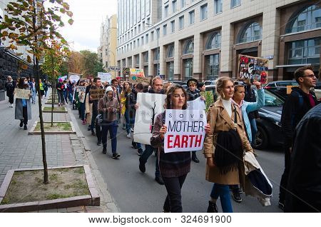 Kyiv, Ukraine - September 20, 2019: Ukrainian People Gather In Climate Change Protest On Global Clim