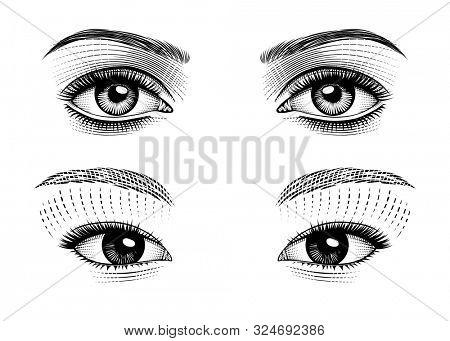 Eyes eastern and european girls. Vintage prints stylized drawing.