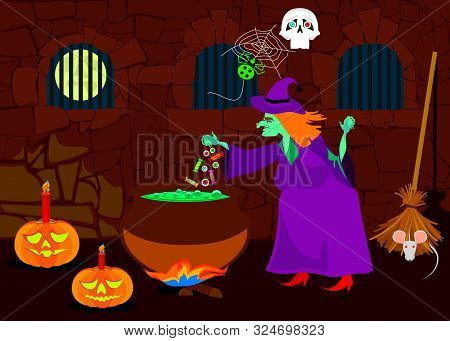 Old Witch Preparing A Potion In Castle Dungeon. Vector Illustration