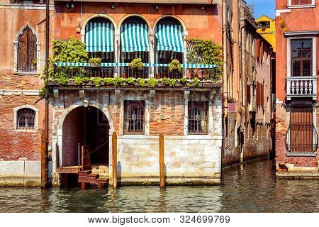 Vintage House, Venice, Italy. Entrance To Residential House Or Hotel By Grand Canal, Famous Street O
