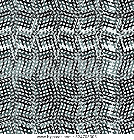 Complicated Greyscale Geometric Pattern, Geometric Texture Of Asymmetric, Dense Lines With Camber, W