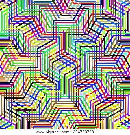Colorful Scribble, Cross Hatch Geometric Lines Pattern. Intersecting Zig-zag, Squiggle Lines Multico