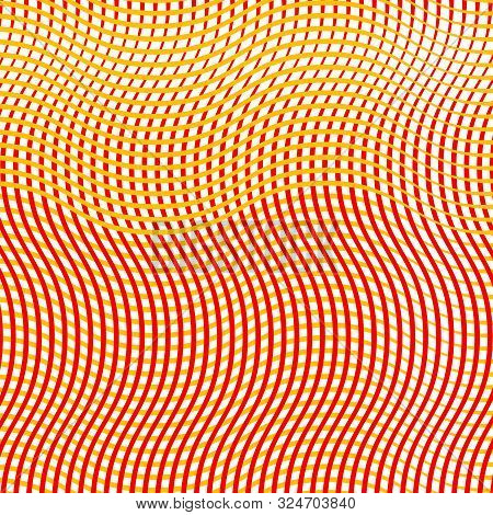 Intersected, Interweaved Irregular Lines, Stripes Orange, Yellow Grid Pattern. Interlocking, Weaved