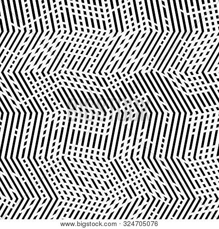 Abstract Geometric Mesh, Grid Pattern Of Interweaved, Interlocking Lines, Stripes. Cellular Matrix,
