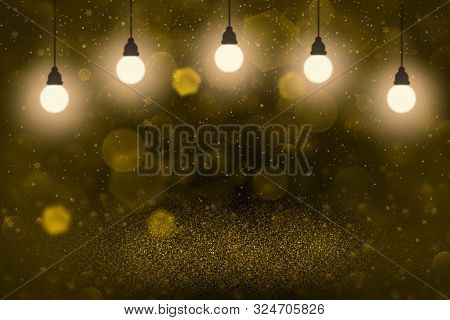 Orange Pretty Shiny Abstract Background Glitter Lights With Light Bulbs And Falling Snow Flakes Fly