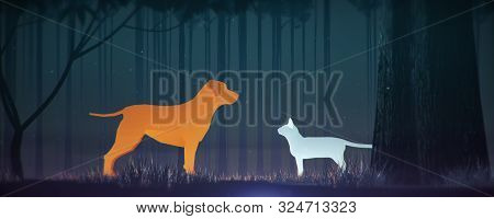 Glowing Orange Dog And Blue Cat Silhouette In Magical Forest Misty Friendship Contradiction Gender P