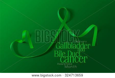 Gallbladder And Bile Duct Cancer Awareness Calligraphy Poster Design. Realistic Kelly Green Ribbon.