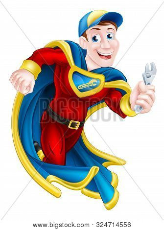 Illustration Of A Cartoon Mechanic Or Plumber Superhero Mascot Holding A Spanner Or Wrench