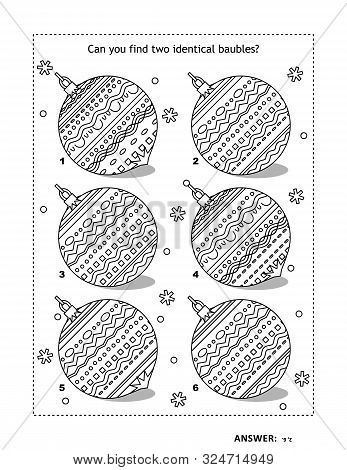 Iq Training Find The Two Identical Pictures With Christmas Baubles Visual Puzzle And Coloring Page.