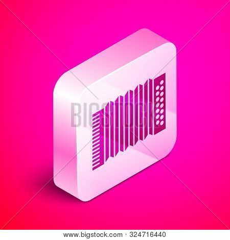 Isometric Musical instrument accordion icon isolated on pink background. Classical bayan, harmonic. Silver square button. Vector Illustration poster