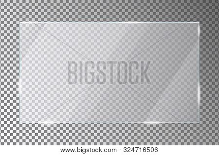 Glass Plate On Transparent Background. Acrylic Or Plexiglass Plates With Gleams And Light Reflection