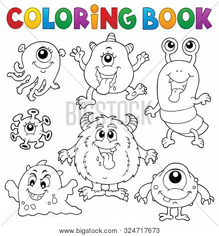 Coloring Book Monsters Theme Set 1 - Eps10 Vector Picture Illustration.