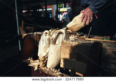 Making Of Traditional Wooden Dutch Shoes - Clogs At Local Market