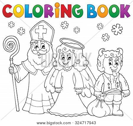 Coloring Book Saint Nicholas Day Theme 3 - Eps10 Vector Picture Illustration.