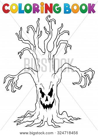 Coloring Book Spooky Tree Thematics 1 - Eps10 Vector Picture Illustration.