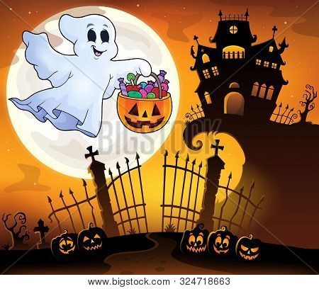Halloween Ghost Near Haunted House 5 - Eps10 Vector Picture Illustration.