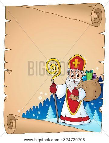 Saint Nicholas Topic Parchment 6 - Eps10 Vector Picture Illustration.