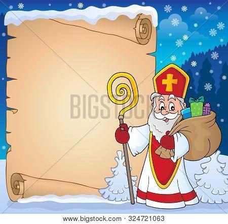 Saint Nicholas Topic Parchment 8 - Eps10 Vector Picture Illustration.