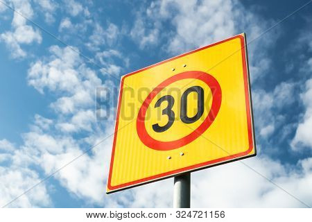 Finnish Speed Limit Sign 30 Km H On Blue Sky Background