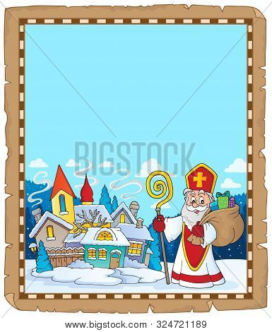 Saint Nicholas Topic Parchment 9 - Eps10 Vector Picture Illustration.