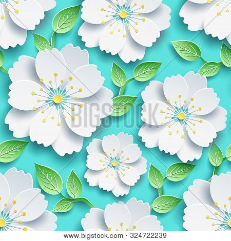 Trendy Seamless Pattern With Branch Of Sakura. Background With Decorative White 3d Flower And Green