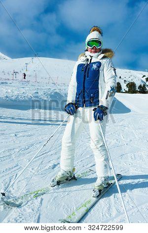Woman On Skis During Winter Season. .