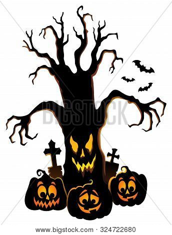 Spooky Tree Silhouette Topic Image 4 - Eps10 Vector Picture Illustration.