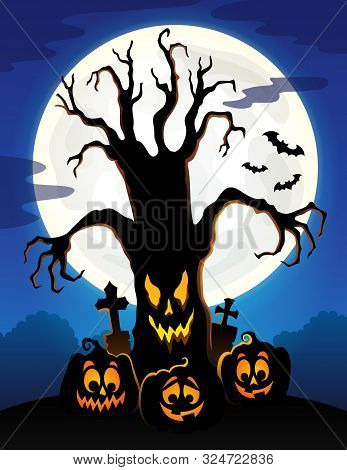 Spooky Tree Silhouette Topic Image 5 - Eps10 Vector Picture Illustration.
