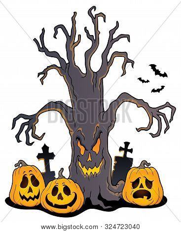 Spooky Tree Topic Image 5 - Eps10 Vector Picture Illustration.