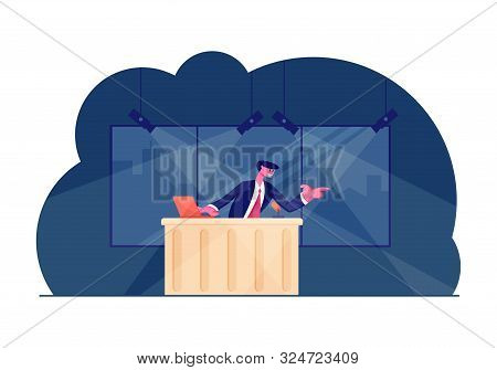 Night Entertainment Show. Tv Presenter Character Wearing Blazer With Tie Speaking At Table With Lapt