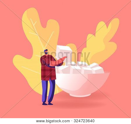 Happy Bearded Male Character Holding In Hands Huge Cube Refined Sugar Prepare For Tea Or Coffee Part