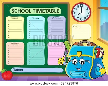Weekly School Timetable Template 9 - Eps10 Vector Picture Illustration.