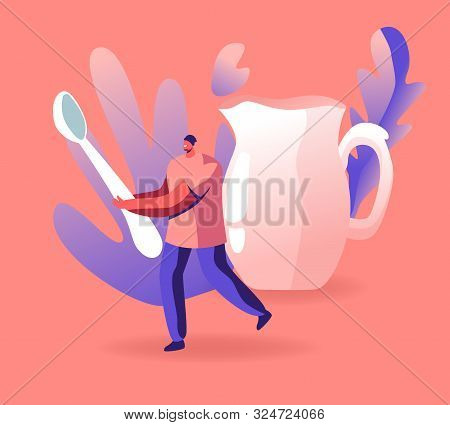 Tiny Male Character Holding Huge Spoon, Crockery Decanter For Milk Or Water On Pink Background. Host