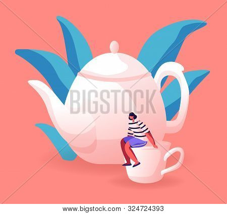 Tiny Woman Sitting On Huge White Porcelain Cup Near Teapot. Female Character Serving Table For Tea P
