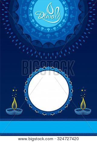 Diwali Festival Of Light In India. Creative Diwali Greeting Card Design. Vector Illustration