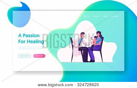 Physician Baby Check Up In Hospital Website Landing Page. Medical Pediatrician Doctor Listen Lung An