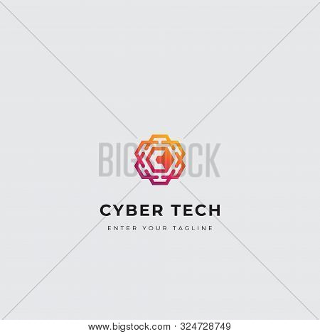 C Letter Cyber Tect Logo, Concept Letter C With Brain Organ Circuitry, Design With Gradient Color