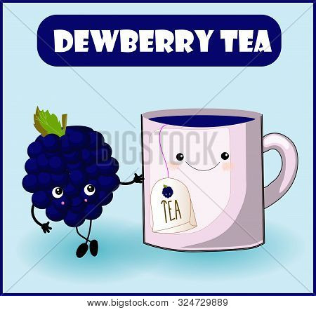 Tea From Dewberry. Cup Character, Mooseberry Cheerful Berry With Face, Eyes And Smile. Healthy Food.