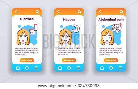 Gastrointestinal Diseases On Mobile App Onboarding Screens.