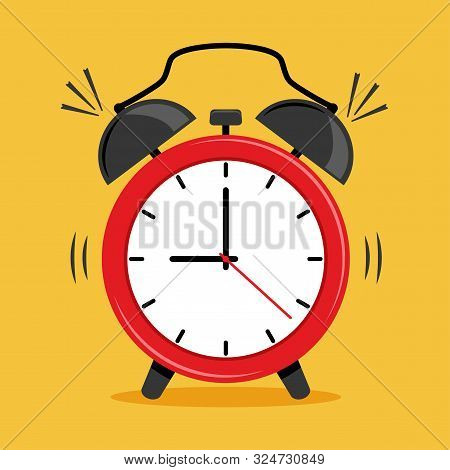 Red Alarm Clock Icon On Yellow Background. Vector Illustration