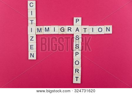 Immigration Minimalistic Concept. Isolated Wooden Letter Blocks With Word Cloud Immigration Citizen