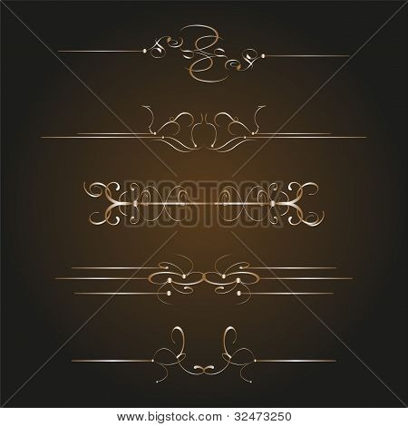 Calligraphic Decor Design Elements. Corners, Swirls, Frames